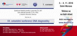 Pozvánka - XX. celostátní konference DNA diagnostiky