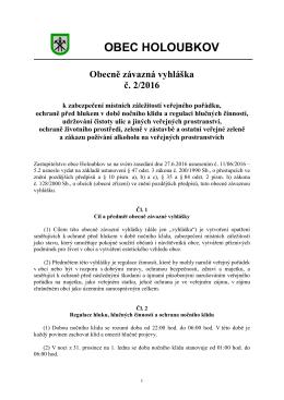 OBEC HOLOUBKOV Obecně závazná vyhláška č. 2/2016