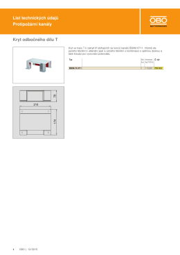 List technických údajů Protipožární kanály Kryt odbočného dílu T
