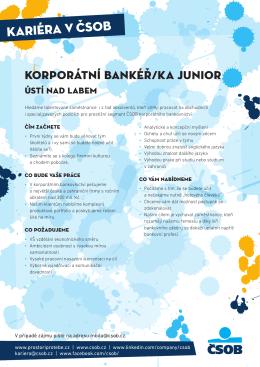 Korporátní bankéř/ka Junior
