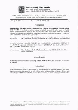 Usnesení o odročení dražby
