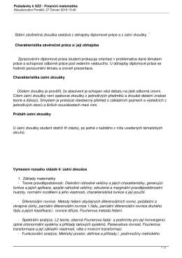 Požadavky k SZZ - Finanční matematika