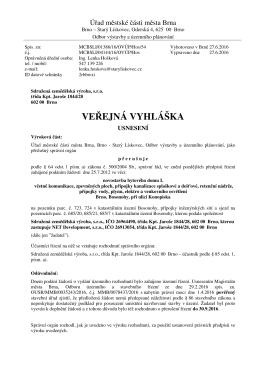 ve ejná vyhláška - Statutární město Brno