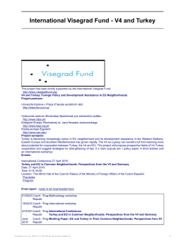 International Visegrad Fund - V4 and Turkey