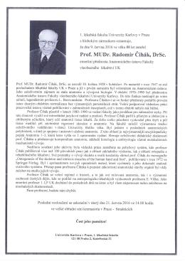 Úmrtní oznámení - 2. Lékařská fakulta
