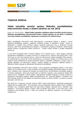 Vláda schválila výroční zprávu Státního zemědělského
