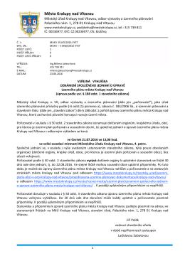 oznámení společného jednání o úpravě územního