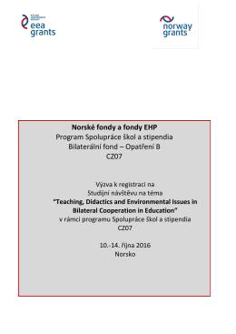Norské fondy a fondy EHP Program Spolupráce škol a