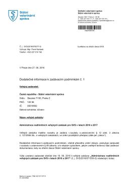 Dodatečné informace k zadávacím podmínkám č. 1