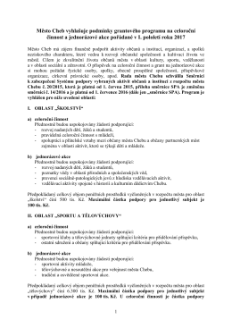 Vyhlášení podmínek grantového programu na