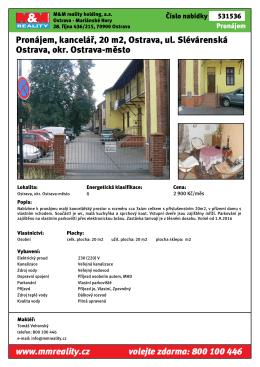 Pronájem, kancelář, 20 m2, Ostrava, ul. Slévárenská Ostrava, okr
