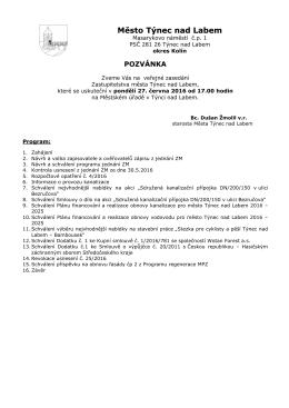 Pozvánka na jednání ZM 27_6_2016