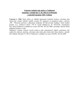 Usnesení z jednání rady města ve Vodňanech konaného v pondělí