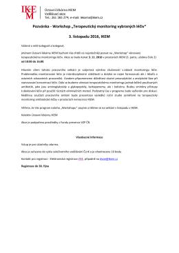 "Workshop ""Terapeutický monitoring vybraných léčiv"""