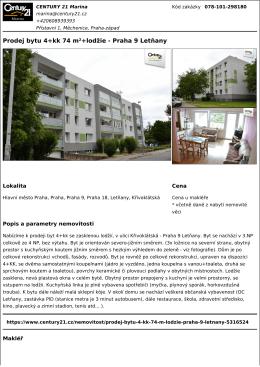 Prodej bytu 4+kk 74 m²+lodžie - Praha 9 Letňany