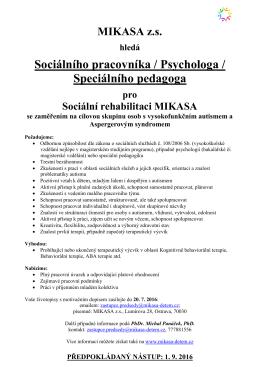 Sociálního pracovníka / Psychologa / Speciálního