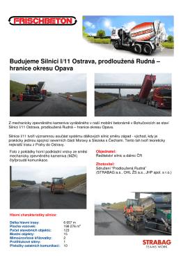 Budujeme Silnici I/11 Ostrava, prodloužená Rudná