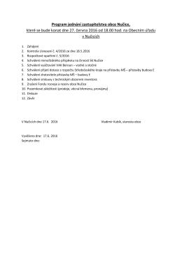 Program jednání zastupitelstva obce Nučice, které se bude konat