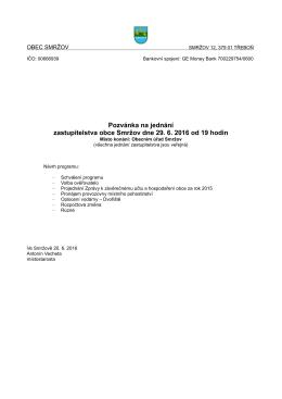 Pozvánka na jednání zastupitelstva obce Smržov dne 29. 6. 2016 od