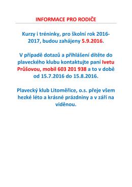 Informace pro rodiče - Plavecký klub Litoměřice