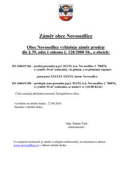 Záměr prodeje p.p.č. 812/52, k.ú. Novosedlice