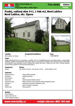 Prodej, rodinný dům 5+1, 1 046 m2, Nové Lublice Nové Lublice, okr
