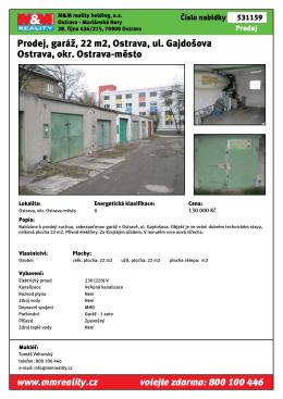 Prodej, garáž, 22 m2, Ostrava, ul. Gajdošova Ostrava, okr. Ostrava