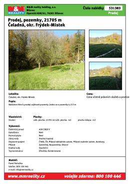 Prodej, pozemky, 21705 m Čeladná, okr. Frýdek