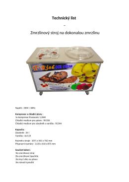 Technický list – Zmrzlinový stroj na dokonalou zmrzlinu