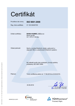 Certifikát - MANN+HUMMEL