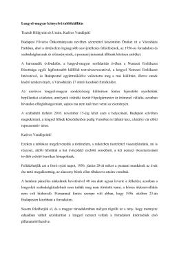 Lengyel-magyar kétnyelvű tablókiállítás Tisztelt Hölgyeim és Uraim