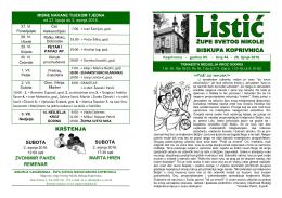 Župni listić u PDF formatu možete preuzeti ovdje
