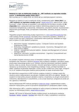 "Natječaj za upis na doktorske studije na "" IMT Institutu za napredne"