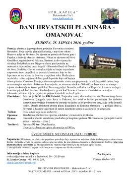 dani hrvatskih planinara - omanovac