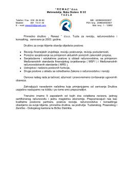 """Privredno društvo """" Rewaz """" d.o.o. Tuzla za reviziju, računovodstvo i"""