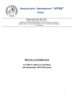 Pravila studiranja I. ciklusa po Bolonjskom procesu