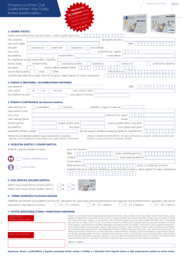 Pristupnica za Diners Club Croatia Airlines i Visa Croatia Airlines