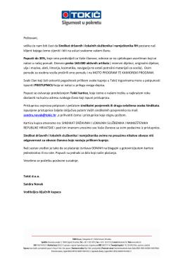 TOKIĆ d.o.o. ponuda za članove SDLSN