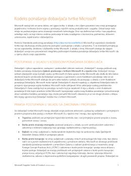 Kodeks ponašanja dobavljača tvrtke Microsoft