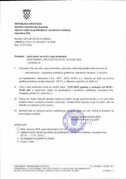 Poziv za uvid u spis predmeta u postupku izdavanja građevinske