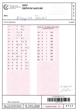 ETI list sa odgovorima