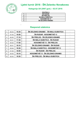 Ljetni turnir 2016 - ŠN Zelenko Novakovec