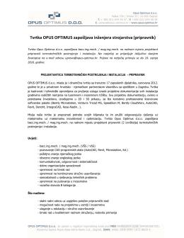 Tvrtka OPUS OPTIMUS zapošljava inženjera strojarstva