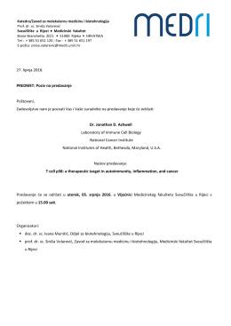 Poziv na predavanje - Medicinski fakultet u Rijeci