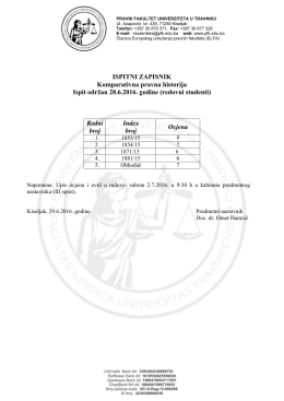 Rezultati ispita rađenog 28.6.2016. godine