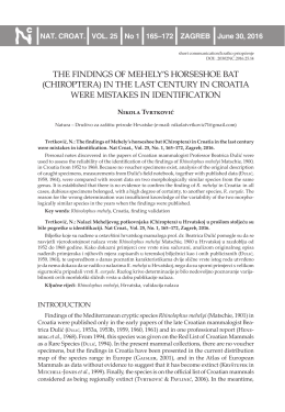 the findings of mehely`s horseshoe bat (chiroptera) in the last