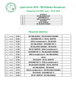 Raspored U14 - eMedjimurje.hr