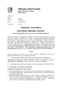 Veř. vyhl. stanovení II-289 ul. Bořkovská částečná uzavírka