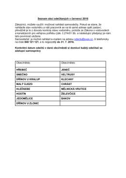 Seznam obcí odečítaných v červenci 2016 Zákazníci, můžete využít i