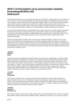 Hodnocení - Státní fond kinematografie